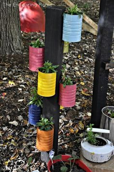 a flower pot from old cans.....I'm thinking birdhouses too !
