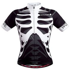 Fashionable Skeleton Pattern Full Zipper Short Sleeve Summer Cycling Jersey For Men