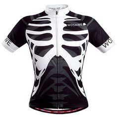 Professional Skeleton Pattern Full Zipper Short Sleeve Summer Cycling Jersey