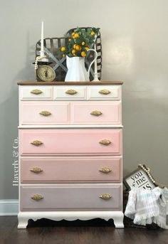 Redone Ombre Dresser in Fusion Mineral Paint in Damask English Rose Picket Fence with hardware from D. Lawless//Stained Top// Painted Furniture//Painted Dresser//Furniture makeover