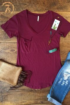 The perfect pocket tee in the perfect Fall color -- wine! Casual western chic at its finest.