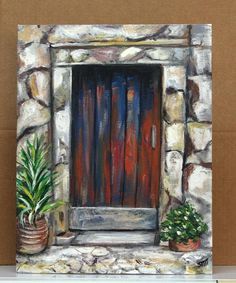 Red Door Painting on 11 x 14 canvas panel.