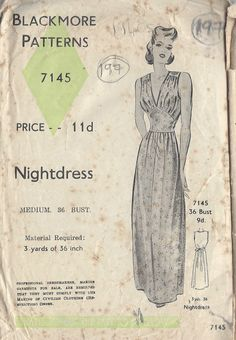 "1940s Vintage Sewing Pattern B36"" Nightdress 197 | eBay"