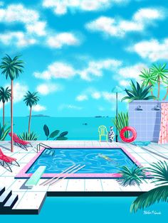 Yoko Honda People of Print illustration New Retro Wave, Retro Waves, Art Vaporwave, Illustrations, Illustration Art, Color Concept, Art Plage, City Poster, Wallpaper Animes
