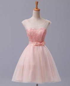 Custom Pink Lace Tulle Short Prom Dresess Evening by maggiedress