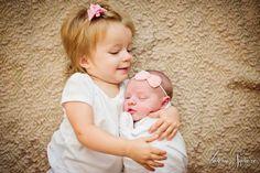 newborn girl + big sister photo shoot at home