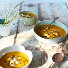 Pumpkin soup with pumpkin seeds and goat's cheese