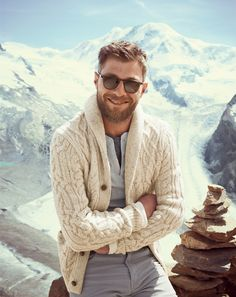 J.Crew slim long-sleeve henley thermal, Donegal cable shawl cardigan and the Garrett Leight™ Brooks sunglasses in matte espresso..