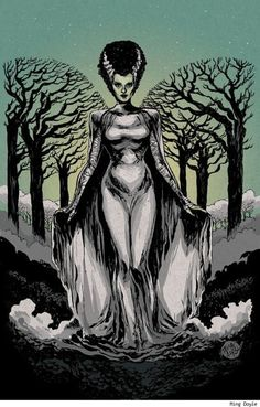 Bride of Frankenstein, by Ming Doyle. This is my Halloween costume inspiration for this year Halloween Horror, Halloween Art, Halloween Recipe, Halloween Queen, Halloween Images, Halloween Cupcakes, Beetlejuice, Zombie Pin Up, Frankenstein's Monster