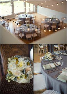Guilford Yacht Club, Gourmet Galley Catering, Wedding, Robin Dini Photography, Cafe lights, reception, round tables, grey, green, sage, menus, napkins, bridal bouquet, wedding reception