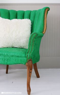 DIY Chair Makeover: A no-fuss way to paint upholstered fabric with Velvet Finishes Paint. It's easy to make over your dated chairs into chic and modern home decor. Furniture Making, Wood Furniture, Wingback Chair, Tub Chair, Accent Chairs, Pdf, Wooden Furniture, Upholstered Chairs, Timber Furniture