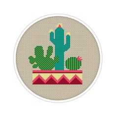 Cactus Design Counted Cross Stitch Pattern by EasyPeasyCrossStitch