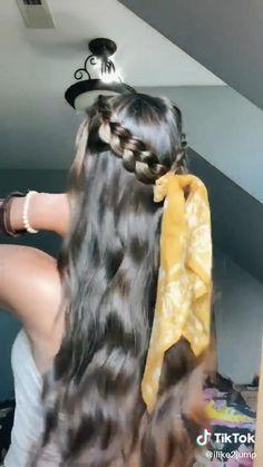 So beautiful💗 Easy Hairstyles For Long Hair, Summer Hairstyles, Braided Hairstyles, Bandana Hairstyles, Fancy Hairstyles, Short Grunge Hair, Hair Upstyles, Curly Hair Tutorial, Aesthetic Hair
