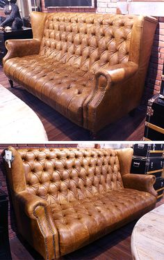 Vintage Leather Sofa Highback Chesterfield