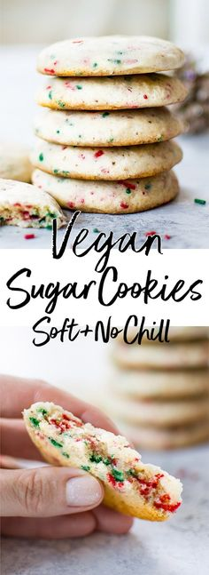 These vegan sugar cookies are super soft easy and no chill! A delicious dairy-free sugar cookie recipe. These vegan sugar cookies are super soft easy and no chill! A delicious dairy-free sugar cookie recipe. Healthy Vegan Dessert, Cookies Healthy, Cake Vegan, Vegan Dessert Recipes, Vegan Treats, Vegan Foods, Healthy Recipes, Easy Vegan Cookies, Cookies Soft