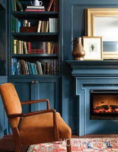 Paint Color Pick: Lead Gray By Benjamin Moore The paint color: Lead Gray by Benjamin Moore – a deep blue-grey that calls to mind the crushing waves of the sea at dusk. Why we love it: This handsome shade is dark and moody, but also has richness a Home Office, Flur Design, Moore House, Decoration Inspiration, Kitchen Paint, Kitchen Grey, Kitchen Office, Grey Kitchens, Kitchen Cupboards
