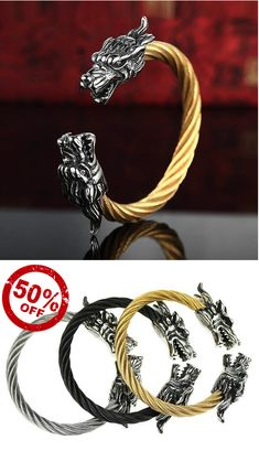 Jewelry Black Gold Tibetan Steel Dragon Bracelets Variations] - Dragon Bracelet With Tibetan Steel, Beautifully carved dragon heads steel bracelet, available in black, gold, or stainless steel one size fits most Length. Dragon Bracelet, Dragon Jewelry, Bracelets For Men, Beaded Bracelets, Making Bracelets, Black Gold Jewelry, Emerald Jewelry, Things To Buy, Stuff To Buy