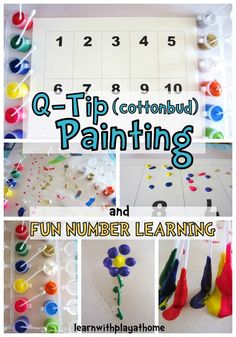 Learn with Play at home: Q-Tip (cottonbud) Painting. Learning Numbers