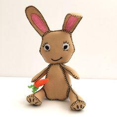 Bunny, Wool felt bunny, plush bunny, nursery decor, toy gift, kids room decor, birthday gift, child's toy