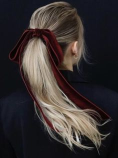 red hair ribbon long blonde hair