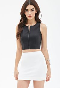 Zippered Faux Leather Top from Forever Saved to Forever Shop more products from Forever 21 on Wanelo. Trendy Outfits, Cute Outfits, Fashion Outfits, Summer Outfits, Leather Crop Top, Tops Online Shopping, Dressy Dresses, Dark Fashion, Clothing Items