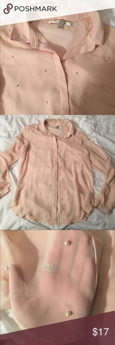 Cute light pink button down with pearls! Accepting offers!!!  Light pink sheer button down shirt with pearl embellishments Lauren Conrad Tops Button Down Shirts