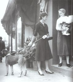 walking the dog: Jackie and her poodle Gaullie in the early 1950's.