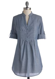 Back Road Ramble Tunic in Stream. You always look forward to a weekend drive in the country, and when you spy the soft chambray of this stream-blue top, you know its the perfect piece to wear on a sun-filled afternoon. #blue #modcloth