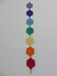 Chakra Wall Hanging, Crochet Chakra Wall Hanging, Chakra Banner by… Crochet Bunting, Crochet Garland, Crochet Mandala Pattern, Crochet Stitches, Crochet Patterns, Yoga Studio Decor, Crochet Wall Hangings, Crochet Bookmarks, Crochet Home