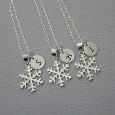Sterling Silver Snowflake Necklace, Winter Necklace, Christmas Necklace, Christmas Gift, Winter Wedding Necklace, Flower Girl Necklace