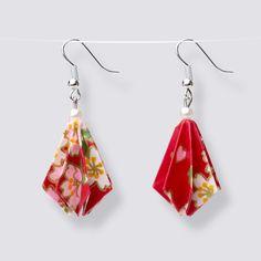 Origami Flower Drop Earrings - HZ465 Dangly Earrings, Drop Earrings, Origami Artist, Origami Flowers, Japanese Paper, Blooming Flowers, Handmade Accessories, Great Gifts, Pearls