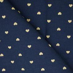 Tissu coton imprimé coeur bleu nuit & or