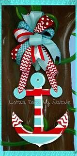 Hand painted door hanger www.facebook.com/lotzadotzbynatalie ~anchor. Great color combo~