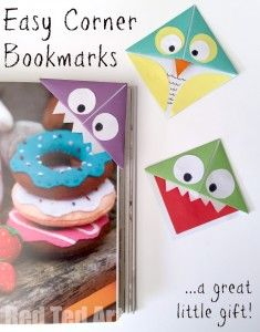 Easy Origami Corner Bookmarks - turn them into Monsters, Owls and wherever your imagination takes you. A great little gift for book lovers on Father's Day or Teacher Appreciation or for Back to School - Red Ted Art's Blog
