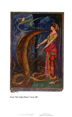 """""""Queen of Snakes, give me back my husband!"""" H.J. Ford for The Olive Fairy Book, by Andrew Lang. #children #illustration"""