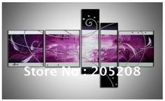 Framed 5 Panel Huge Purple Wall Art Abstract Oil Painting on Canvas Picture XD00305-in Painting & Calligraphy from Home & Garden on Aliexpress.com | Alibaba Group