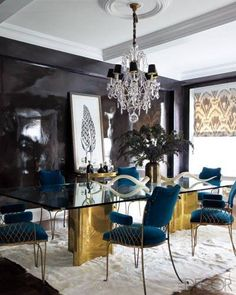 To attain this high-shine effect, the walls of Jackie Astier's Manhattan apartment were painted with 10 coats of custom lacquer.   - ELLEDecor.com