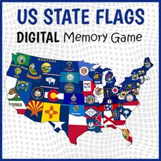 DIGITAL US State Flags Memory Game - State Flags Matching Game | TpT Us States Flags, U.s. States, Fun Classroom Activities, Group Activities, Flag Game, Educational Games For Kids, Skills To Learn, Try To Remember, Memory Games