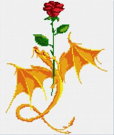 Rose and dragon pattern by Santian69... this would make a wonderful afghan pattern