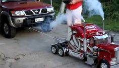 What?? Mini big rig so cool !!!  R/C Semi pulls truck