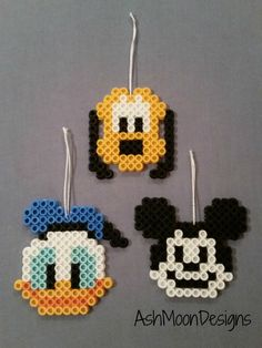 These perler bead creations are based on iconic Disney characters! They can be made into magnets, ornaments, keychains, lanyard clips. or left as