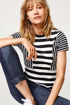 Esprit - T-shirt à rayures, 100% coton Casual Tops, Pjs, Nightwear, Shirts, Outfits, Clothes, Fashion, Women, Cotton