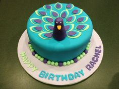 """Peacock Cake"" Made by Jen & Mom @ ""Just Baked Cakes and Cupcakes"""