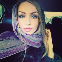 love her natural makeup and her head scarf