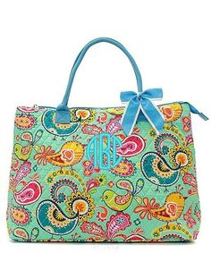 "Bird Paisley 21"" Large Quilted Tote Bag - Mint & Turquoise- Personalized with an embroidered monogram or name. This a cute quilted tote bag that can be used like a duffel. Large enough to hold your la"