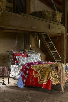 sleep in the barn! Bed in a barn, can it get much more rustic romance than that? Home Bedroom, Bedroom Decor, Bedroom Ideas, Barn Bedrooms, Master Bedroom, Rustic Bedrooms, Bedroom Styles, Anthropologie Furniture, Anthropologie Uk