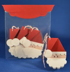 Santa Gift tags or note cards - all made with George Basic shapes OR basic punch art from Stampin Up! punches  The beard is folded so you can write your sentiment.  HOW CUTE!!!  And super easy too.  :)