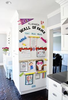 """Make a DIY Display for Your Kids' Schoolwork and Art Projects – Project Nursery My finished Kids Artwork """"Wall of Fame"""" Easy Diys For Kids, Wall Of Fame, Toy Rooms, Project Nursery, Home Organization, Artwork Wall, Artwork Display, Displaying Kids Artwork, Art Wall Kids Display"""