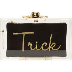 Charlotte Olympia Clear Perspex Trick Or Treat Pandora Box Clutch (1.570 BRL) ❤ liked on Polyvore featuring bags, handbags, clutches, bolsas, purses, black, clear acrylic purse, chain purse, hand bags and hard clutch