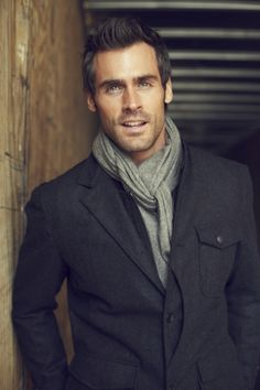 Charcoal Gray Wool Hunting Jacket, and Gray Cashmere Scarf, Men's Fall Winter Fashion.